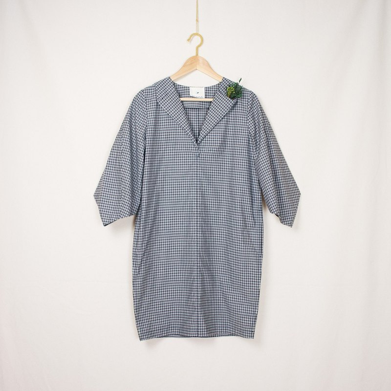 Indigo Grid Pattern Tunic Dress