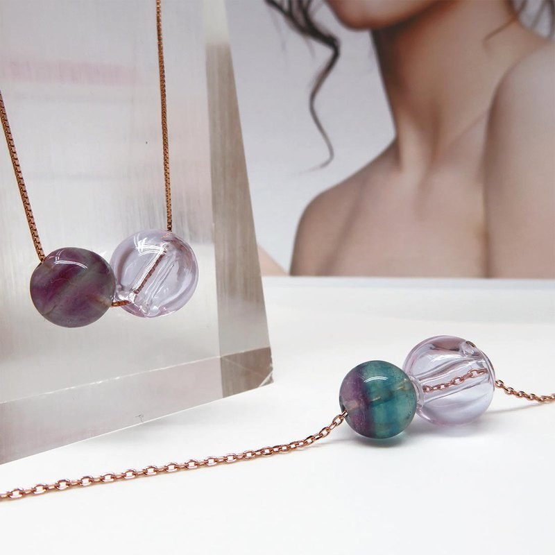 Fluorite December Diffuser Necklace Bracelet Rose Gold Titanium Steel S925