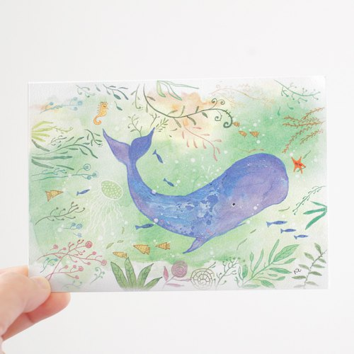 Ocean's Love I Whale postcard  Animal postcard