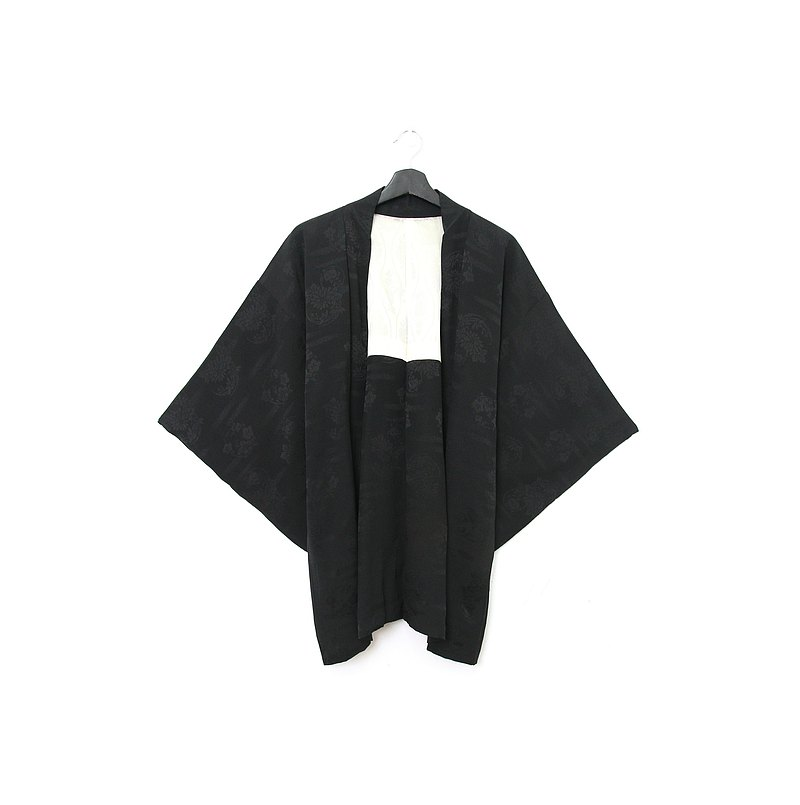 Back to Green-Japan brought back feather texture embossed four gentlemen/vintage kimono