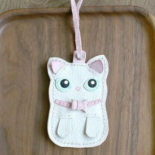 Cat - White Cat Handmade Leather Charm