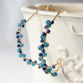 Lapis lazuli and topaz hitting hoop earrings 14 kgf
