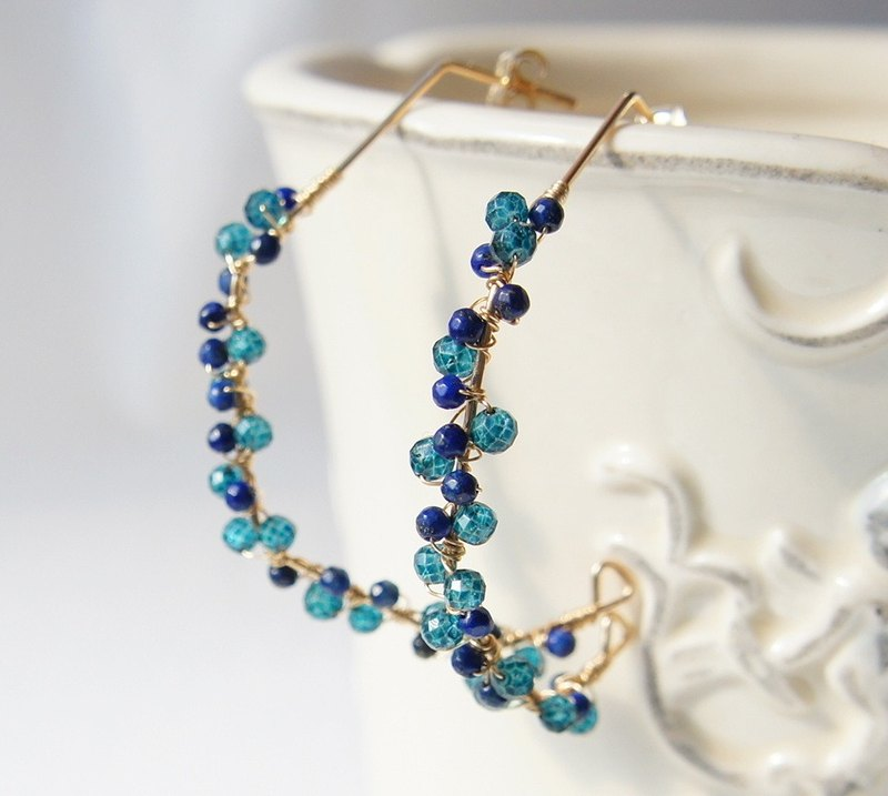 Blue Lapis Lazuli Cluster Gold Hoop Earrings 14k gold filled
