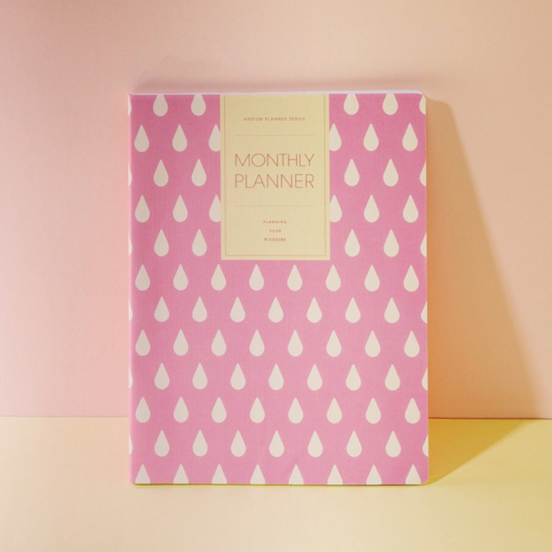 ARDIUM MONTHLY PLANNER(L) Monthly Plan Calendar (Large) - Pink Raindrops