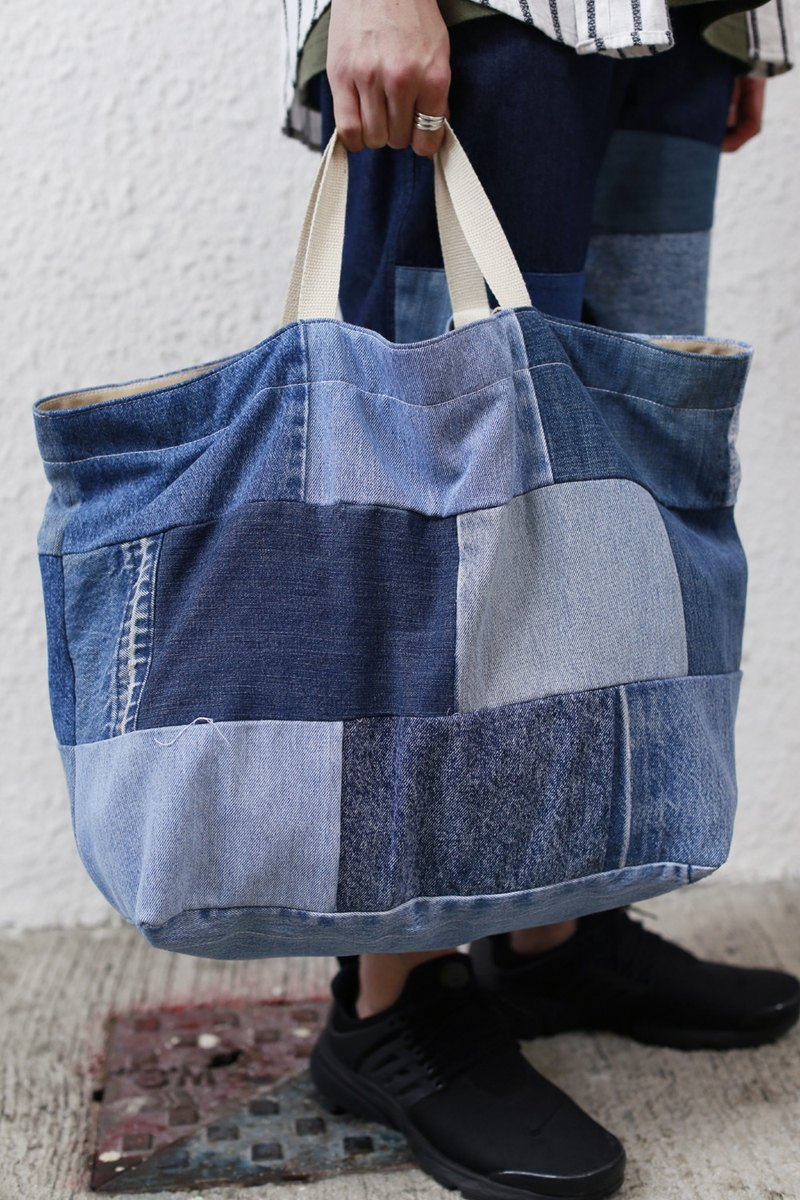 Denim Patchwork travelling tote bag