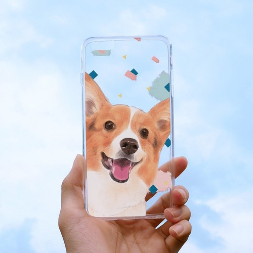 Smile Corgi Embossed Soft Case - iPhone (i5, i6s, i6splus, i7.i7plus) / Android (Samsung, HTC, Sony) Original Phone Case / Clear Case.