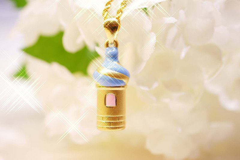 Fine hard gold-dream castle-pendant