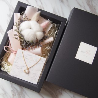 [Warm Bouquet Gift Set]: Mini Dry Bouquet (Pink) + [Zircon Moon Moon Necklace]
