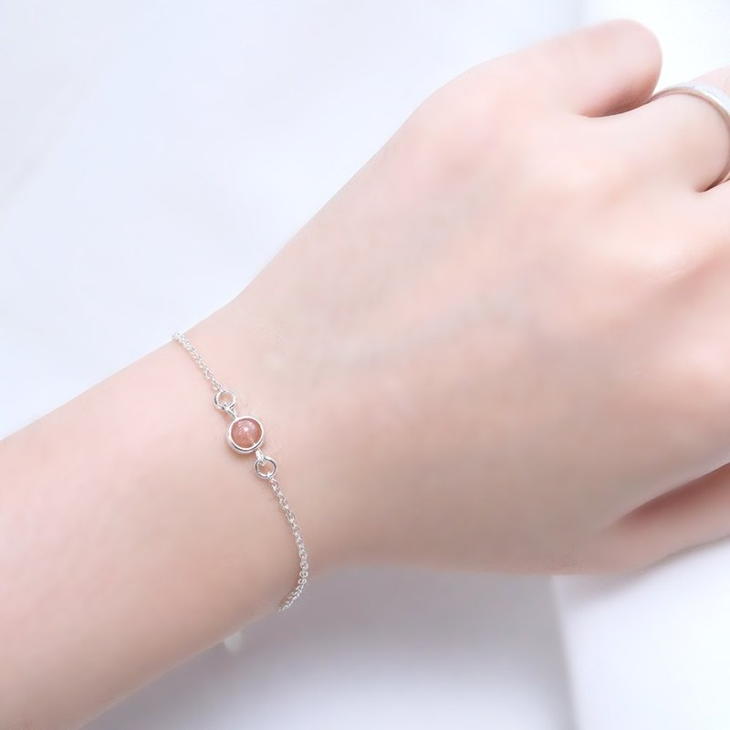 Orange Moonlight Stone Elephant Bracelet (Small) - 925 Sterling Silver Natural Stone Bracelet