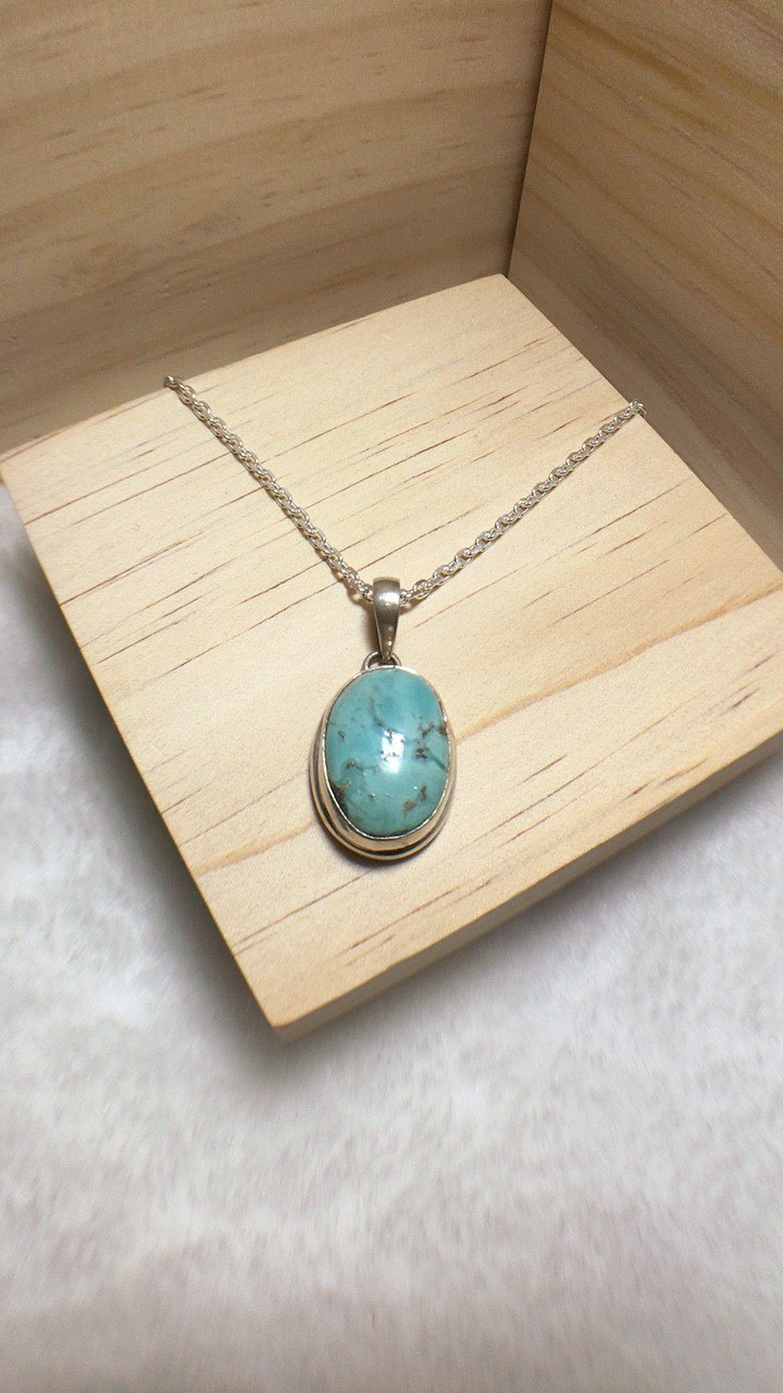 Turquoise Tag pendant Handmade in Nepal 92.5% Silver