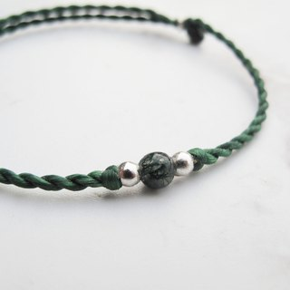Big staff Taipa [manual silver] seaweed jade × wax rope silver beads bracelet green green