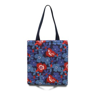 Illustrated Shoulder Print Bag - Blue Poppies