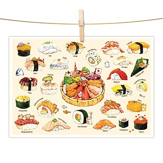afu watercolor illustration postcard - Cat Gourmet / Sushi articles