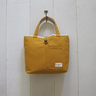 Macaron Collection: Canvas Tote - Small size (Wood Button Closure W/ Exterior Pocket) Yellowish + Beige