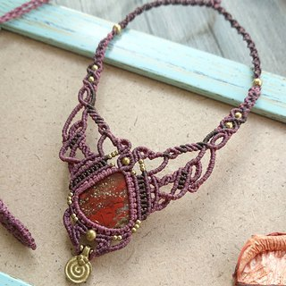 N67 Bohemian ethnic style South American wax line woven brass red jasper necklace clavicle chain