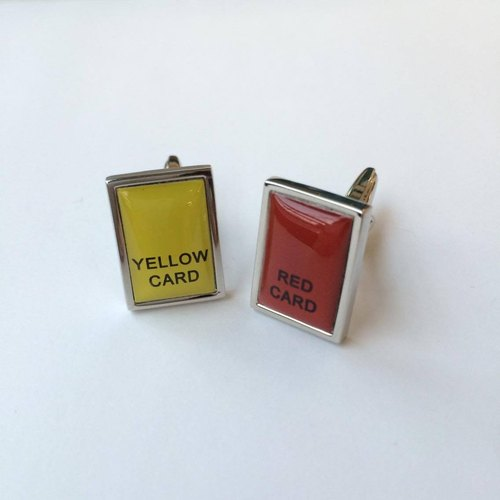 "紅黃牌袖扣 ""Yellow Card""""Red Card""Cufflink"