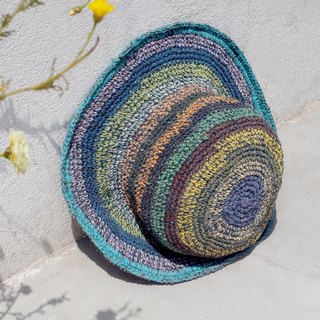 Limited edition handmade knitted cotton hood / weaving hat / fisherman hat / sun hat / straw hat - blue sky blueberry colorful striped handmade hat