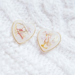 Pierce 雑 ピアス - retro transparent heart-shaped dried flower earrings