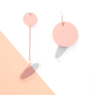 handmade original design pink circle 925 pure silver gold plated earring
