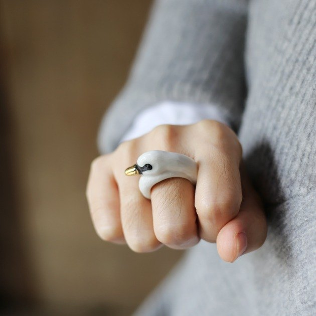 And Mary Golden Mouth White Swan Ring