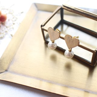 Sweet heart-Brass handmade earrings