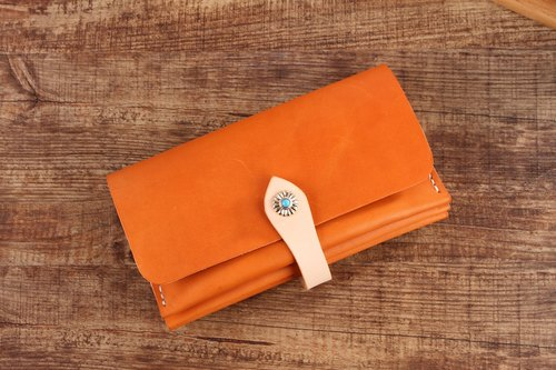 [Cut line] leather handmade organ wallets / hit color retro long clip 013 brown