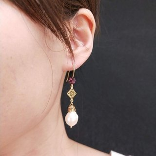 earring. Water Drop Pearl* Red Garnet Ear Stud Earrings Earrings