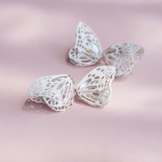 Hollow origami 珐琅 double butterfly pearl earrings / double-wear design order making