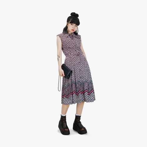A‧PRANK: DOLLY :: retro VINTAGE modern black and white fluorescent pink pattern sleeveless collar ancient dress