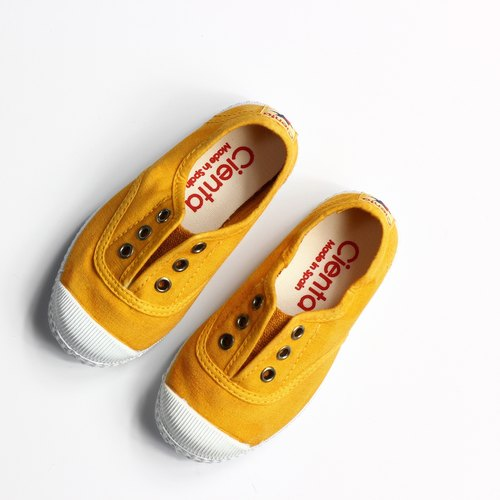 Spanish national canvas shoes CIENTA children 's shoes washed old mustard yellow incense shoes