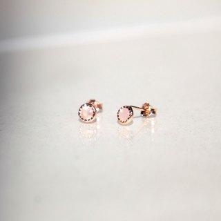 Light pink crystal small round silver earrings (rose gold / can be clipped)