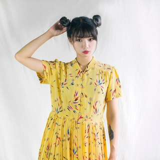 Colorful dandelion short sleeve vintage dress
