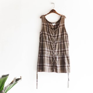 River water mountain - Tokyo olive green independent checkered girl antique linen shirt shirt vest dress shirt oversize vintage
