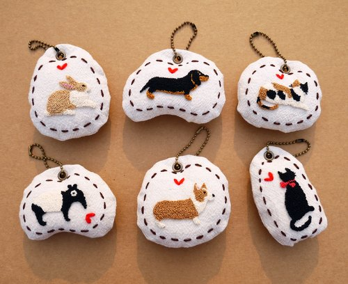 Russian embroidery animal key ring