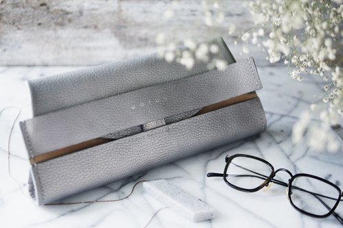 Limited hand-embossed Italian leather clutch - silver