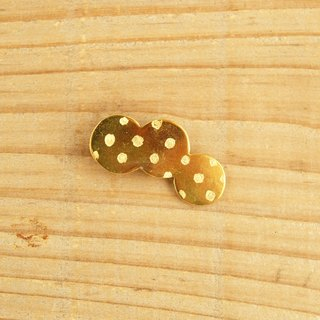 "The brass brooch ""circle trio dot"" B006"