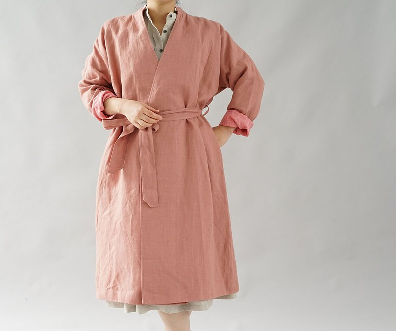 Wafu +  warm linen stand color collar gown coat lined / empire rose b23-29