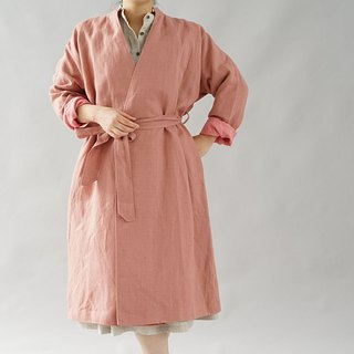 [Wafu +] warm linen stand color collar gown coat lined / empire rose b23-29