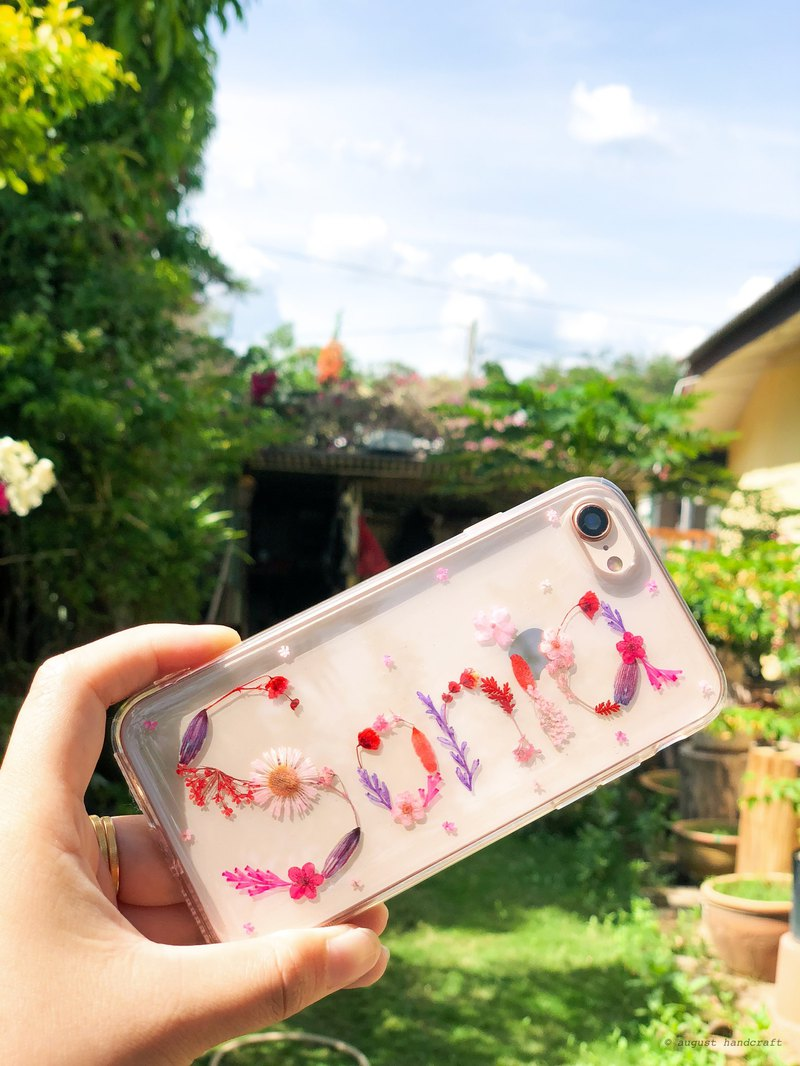 訂製 壓花字母 手機殼  Customized Initial Name Pressed Flower Phone Cover