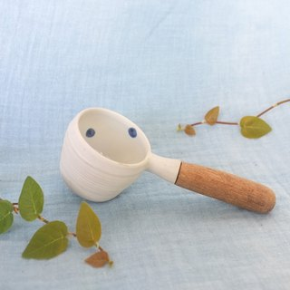 3.2.6. studio: Handmade ceramic big spoon with wooden handle   Indigo poka dot