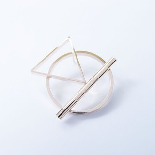 Geometric Landscape 18 Metal Brooch