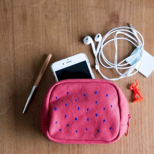 Mushroom Mogu / Canvas Coin Purse / Local (Watermelon Red)