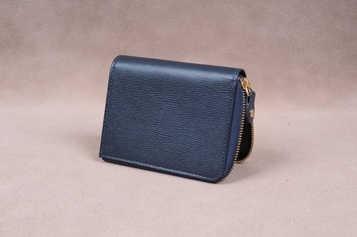 Zipper Wallet / Coin Wallet / Italy Cow Leather(Navy)
