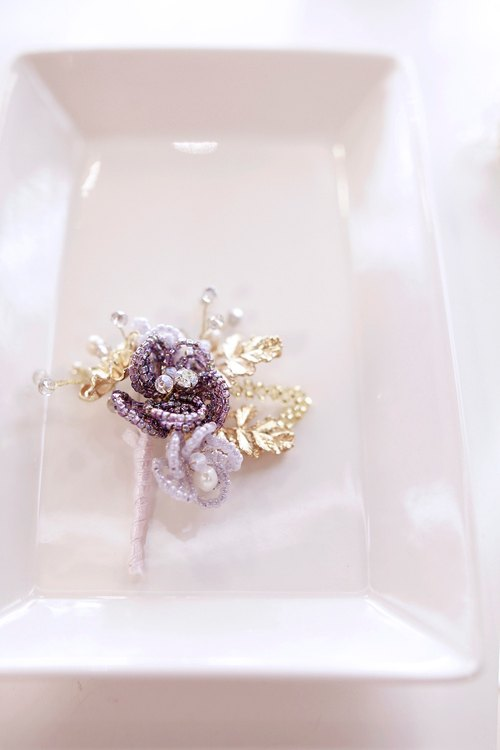 For Groom - Beads Flower Corsage 紫 x 金色華麗串珠新郎襟花