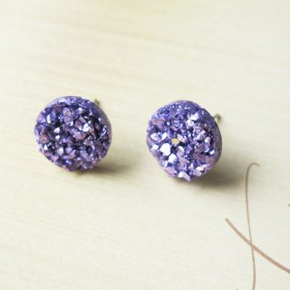 Rosy Garden light purple rocks chip resin earrings