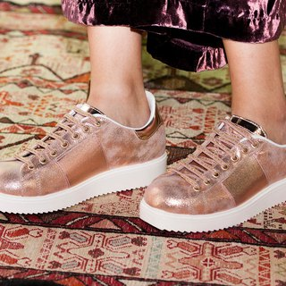 ITA BOTTEGA [Made in Italy] rose gold leather platform casual shoes