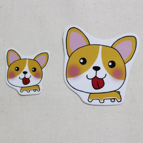 Waterproof stickers (Large) _ Dogs 01 (Corgi)