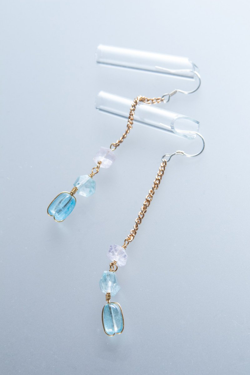 【金色牢籠】海藍寶石摩根石925銀耳環