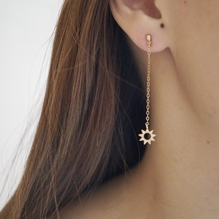 Starburst Dangle Drop Earrings - 14K Gold Filled - Star Earrings