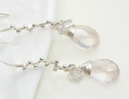 Drop Long earrings silver rose quartz